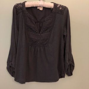 Anthropologie Meadow Rue Dark Blue Long-sleeve Top